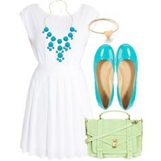 White, Turquoise, Mint Outfit