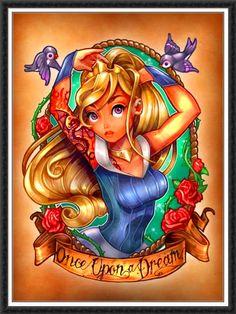 Disney Pin-Up Princess Tat Design: Aurora (Tim Shumate) Disney Pin Up, Art Disney, Disney Kunst, Disney Love, Disney Pics, Disney Images, Tattoo Girls, Girl Tattoos, Tattoo L