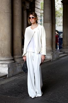 Top off an all-white look with an edgy, moto inspired jacket.