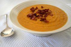 Butternut & Apple Soup with Bacon Croutons - Sarah Graham Food Apple Soup, Pumpkin Soup, Graham Recipe, Butternut Soup, Bacon Soup, Food N, Soup And Salad, Soups And Stews, Soul Food