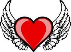 Great free clipart, png, silhouette, coloring pages and drawings that you can use everywhere. Logo Wings, Cool Designs To Draw, Heart With Wings Tattoo, Heart Wings, Angel Wings, Angel Heart, Facebook Featured Photos, Cupid Love, Heart Tattoo Designs