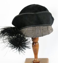 Vintage Hat 1910 1920 Black Beaver and Ostrich Feather Tricorn Turban by Belart Sz 23