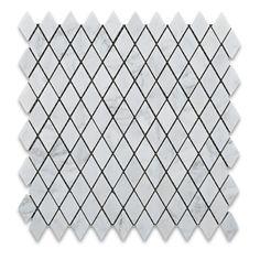 "Carrara White Marble Honed 1"" Diamond Mosaic Tile"