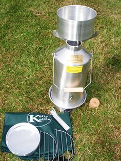 "For Tim: Aluminum ""Base Camp: Kelly Kettle ($96) GSI Minimalist will fit inside the chimney of this stove."