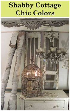 Love the chandelier, Bird Cage and candle light mix! Great Decorating Ideas for Shabby Chic, Farmhouse, Cottage, French Country and Country Decor! Cottage Shabby Chic, Shabby Chic Mode, Style Shabby Chic, Shabby Chic Decor, Vintage Decor, Cottage Style, Vintage Lamps, Diy Garden Furniture, Shabby Chic Furniture