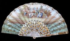 Origin: Spain or France (for the Spanish Market) Date: ca. 1850-60 This large fan is made of heavy carved and pierced mother-of pearl sticks and a double paper leaf.