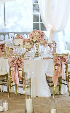 Decoracion de bodas en rosa y oro
