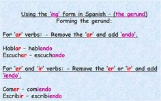 How to use the -ing form of verbs in Spanish.
