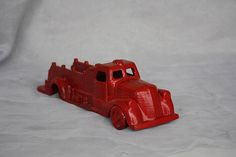 Vintage Toy Fire Truck  Vintage Red Metal Truck  Cast Iron