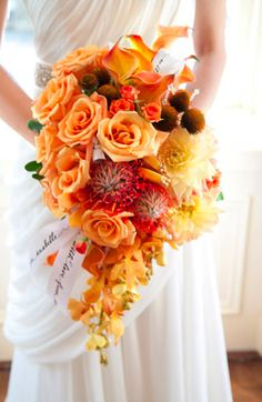 orange, red, gold fall bridal bouquet Photo by Sharp Fluff Photography, bridal gown - Colette by Lea-Ann Belter Bridal
