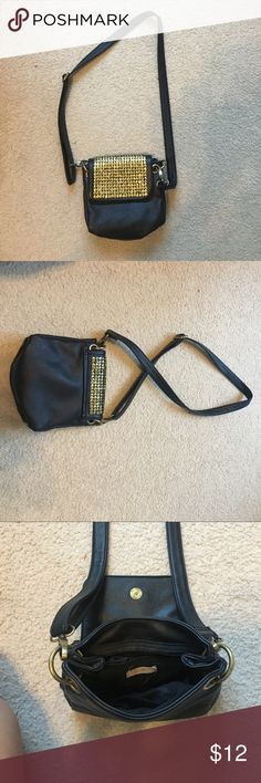 Urban Outfitters crossbody black leather purse Crossbody leather purse with adjustable strap and gold detail Urban Outfitters Bags Crossbody Bags