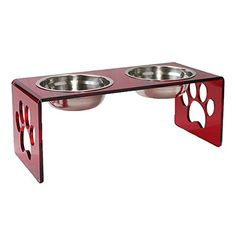 Acrylic Pet Feeders Medium - Set A (Medium, Red) $50