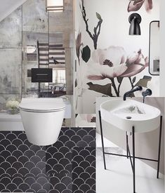 Floral wallpaper has definitely come out of Grandmas bedroom and into 2018 with a bang! Loving this one from @dropitmod Mirror tiles were a must for this cloakroom brief so to give it a contemporary edge I added a sleek basin vanity and my favourite black fixtures and fittings @lussostone . . . #bathroomdecor #cloakroom #bathroomdesign finditstyleit #victorianhouse #doerupper #darkinteriors  #howtheyhome #cornerofmyhome #interioraddict #myeclecticmix #sassyhomestyle #interiorblogger…