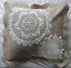 I have made some cushion covers from remnants of woolen fabric, lace and vintage lace doilies. These and other meeni creations are for sale in my Etsy Shop. Handmade Cushion Covers, Handmade Cushions, Decorative Pillow Covers, Vintage Lace, Retro Vintage, Crochet Decoration, Fluffy Pillows, Lace Doilies, Decor Ideas