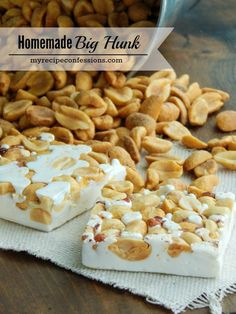 Big Hunk Homemade Big Hunk-This is the best nougat recipe ever! I could eat the whole pan by myself! This candy is easy to make and stays soft for days!Hunker Hunker may refer to: My Recipes, Sweet Recipes, Dessert Recipes, Fudge Recipes, Kitchen Recipes, Yummy Treats, Sweet Treats, Homemade Candies, Desert Recipes