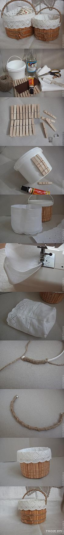 Súper.. Se puede usar para guardar muchísimas cosas cosas.. Ejemplo: los broches de la ropa! ~-> ¿ try using larger container » putting 2 rows of pins around »» Depending on liner fabric [white eyelet, burlap, cotton jersey, denim, ...] , choose coordinating twine [baker's, jute, recycled fabric 'yarn' (t-shirt, jeans, ...)] »»» so many options: *container size & shape (round, square, rectangular, ...); *liner fabric & *twine /yarn/rope ...