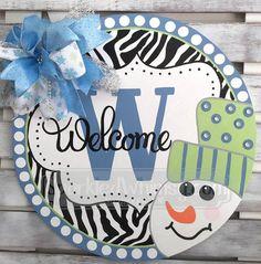 Winter Door Hanger: Monogrammed Zebra Print Snowman Welcome Sign