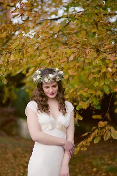 The White Room Bridal, Sheffield:  Suzanne Neville, Claire Pettibone and Jenny Packham Elegance.   I love this mauve and cream floral crown by Campbells Flowers.  Photography by http://www.cathepplephotography.com/