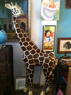 "This giant giraffe sculpture was handcrafted using paper mache by one of Mexico's most famous artists, Sergio Bustamante. Sculpture was hand painted and signed ""Sermel, Tonala, Jalisco, Mexico."" Giraffe would liven up any porch or patio. Vintage Outdoor Decor, Giant Giraffe, Los Angeles Sunset, Paper Mache Projects, Most Famous Artists, Paper Clay, Vintage Furniture, 1980s, At Least"