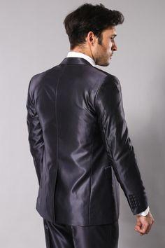 Navy Blue Patterned Shiny Suit l Clothing Supplier Mens Fashion Suits, Mens Suits, Men's Fashion, Tight Suit, Black Suit Men, Brown Suits, Shiny Fabric, Satin Shirt, 3 Piece Suits