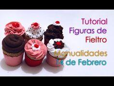 Tutorial Cupcakes de Fieltro - Manualidades 14 de Febrero - YouTube