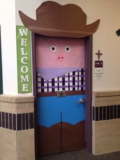 Cowboy pig door decoration just in time for rodeo, complete with belt buckle, bandana, cowboy boots and hat. Plus he is dressed in TCU colors. Cowboy Theme, Western Theme, Western Decor, Class Decoration, School Decorations, Rodeo Decorations, Classroom Door, Classroom Themes, School Wide Themes