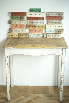 wood & word sign by wood & wool stool