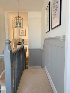 Grey Hallway, Hallway Paint, Entryway Stairs, Tiled Hallway, Upstairs Hallway, Modern Hallway, Hallway Walls, Hallway Flooring, Modern Room