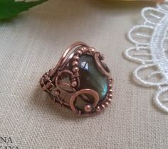 Wire wrapped copper Ring labradorite - Vintage lace ring woven of copper wire - openwork handmade ring - Lacy ring by ValentinaWireJewelry on Etsy