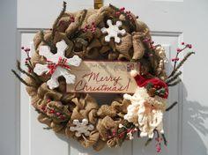 Country Primitive Christmas Burlap wreath by ChloesCraftCloset, $48.00