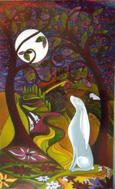 This hare stands aloof from the rest of the painting calmly contemplating the moon, painted glass panel by Deborah Godsall, The Glass Orchard, Ledbury Herefordshire. UK Email: debsinledbury@live.co.uk  Deborah has a board of her art here on Pinterest.
