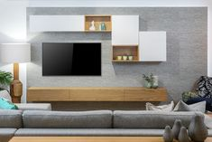American Walnut & White 2 Pac Lacquer Locally Made/Custom Built Available at Bespoke Furniture Gallery Floating Wall Unit, Tv Unit Furniture, Living Room Wall Units, Rack Tv, Long Walls, Drawer Design, Contemporary Apartment, Bespoke Furniture, Panel
