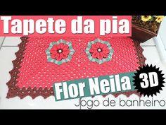 """Tapete da pia - Jogo de banheiro flor Neila 3D - 1/4 """"Soraia Bogossian"""" - YouTube"""