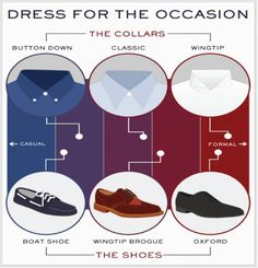 Match your #shirt collar with your #shoes according to the #occasion. #mensgrooming #tips #fashionable