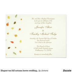 Elegant tan fall autumn leaves wedding invitation