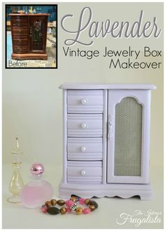 A Lavender Vintage Jewelry Box Makeover Before & After The Interior Frugalista Jewelry Box Makeover, Armoire Makeover, Furniture Makeover, Handmade Jewelry Box, Vintage Jewelry Crafts, Jewellery Boxes, Jewellery Storage, Jewelry Box Plans, Jewelry Ideas