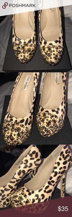 Steve Madden leopard print spiked heels Worn, but still in good shape. Gold spikes all still intact. Real cow hair. Women's size 10. Steve Madden Shoes Heels