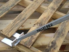I found this tool to be extremely helpful in tearing down pallets to use the wood for projects. It is really easy to use and my back does not hurt when I'm done. :) #Dissasembly, #Pallet, #Tool