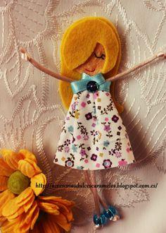 Quecas de Fieltro / Dolls felt Mod40 http://accesoriosdulcescaramelos.blogspot.com.es/search/label/Mu%C3%B1ecas%20%28Quecas%20de%20Fieltro%29