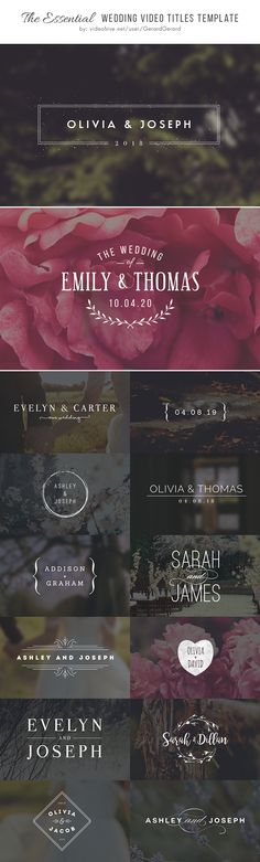 Wedding Video Titles – Wedding Video Editing Templates  – Videography
