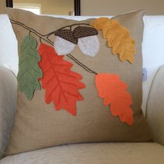 Autumn Leaves Pillow Cover Oak Acorn Pillow Fall by AngieandLois