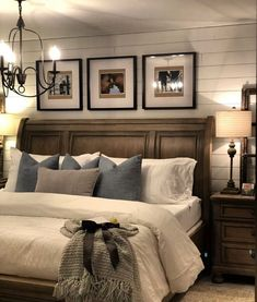 Farmhouse master bedroommodern farmhouse bedroom design, neutral bedroom decor, seating area in master bedroom, upholstred headboard and rustic nightstand decor, shiplap on bedroom walls . Small Master Bedroom, Farmhouse Master Bedroom, Master Bedroom Design, Home Bedroom, Modern Bedroom, Master Suite, Bedroom Designs, Bedroom Suites, Bedding Master Bedroom