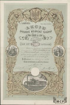 A1132 / Muzeum cennych papiru / Akciová rolnická továrna na cukr a líh ve Slavkově  akcie 200 Zl. Slavkov 1873 Aktie / AZP3CZ011