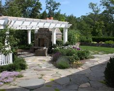 Flagstone Patio with creeping Thyme, Landscaping, Pergola