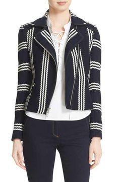 Veronica Beard Bailey Stripe Knit Moto Jacket