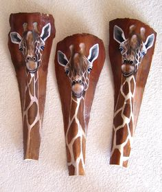 Giraffe Tiki Mask on Fan Palm Frond by roseartworks on Etsy