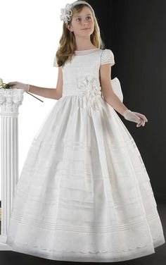 $108.87-A-Line Floral Floor-Length Short-Sleeve Flower Girl Dress/Little Girl Wedding Dress. http://www.ucenterdress.com/a-line-floral-floor-length-short-sleeve-jewel-neck-flower-girl-dress-pMK_400011.html.  Shop for best flower girl dress, baby girl dress, girl party dress, gowns for girls, dresses for girl, children dresses, junior dress, pageant dresses for girls We have great 2016 fall Flower Girl Dresses on sale. Buy Flower Girl Dresses online at UcenterDress.com!
