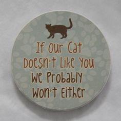 """If Our Cat Doesn't Like You We Probably Won't Either"" AbsorbaStone Auto Coaster"