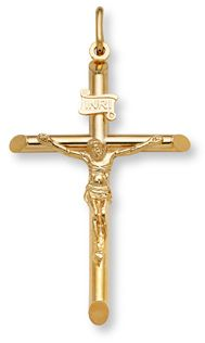 14k yellow gold jesus crucifix cross pendant charm new inri click at the cross on calvary christ shed his blood for me so i mozeypictures Gallery