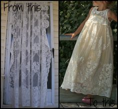 Upcycled Crafts {week 2}   So You Think You're Crafty - From lace curtain panel to little girl's maxi-dress.